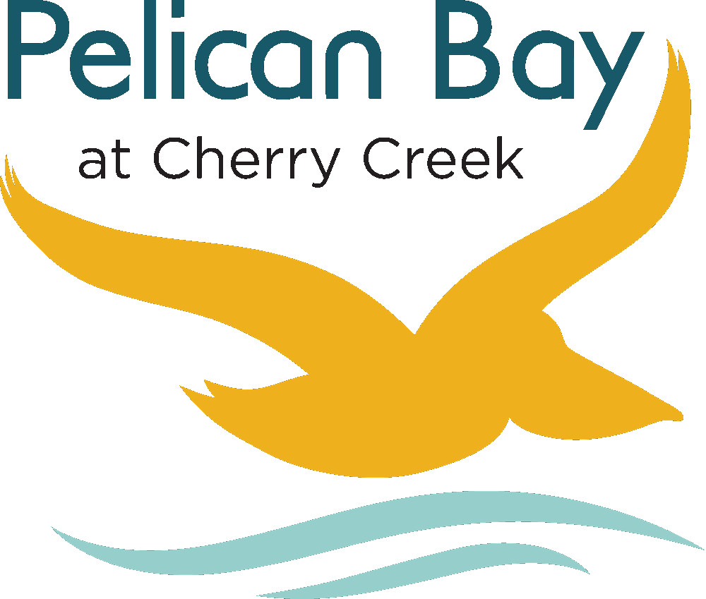 Pelican Bay at Cherry Creek with Pelican graphic and waves