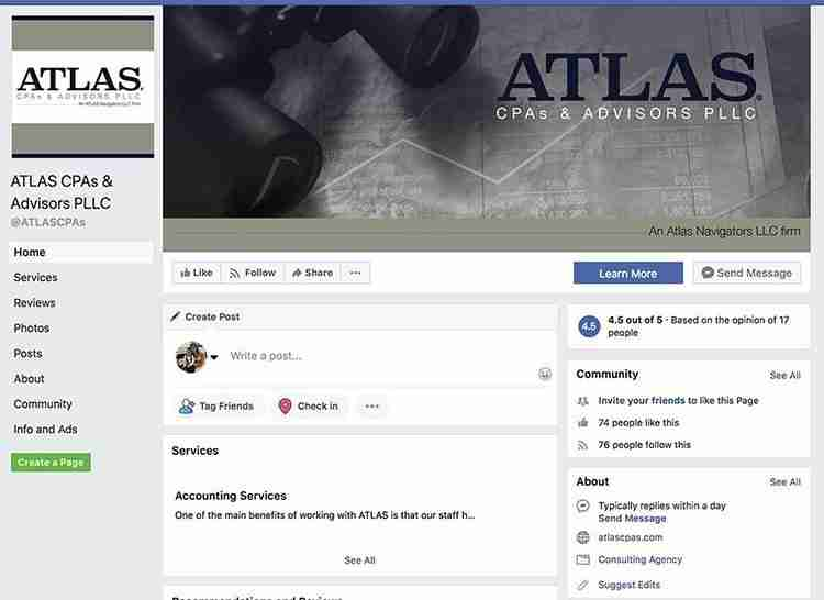 ATLAS CPAs & Advisors Facebook Page - Crazy Good Marketing