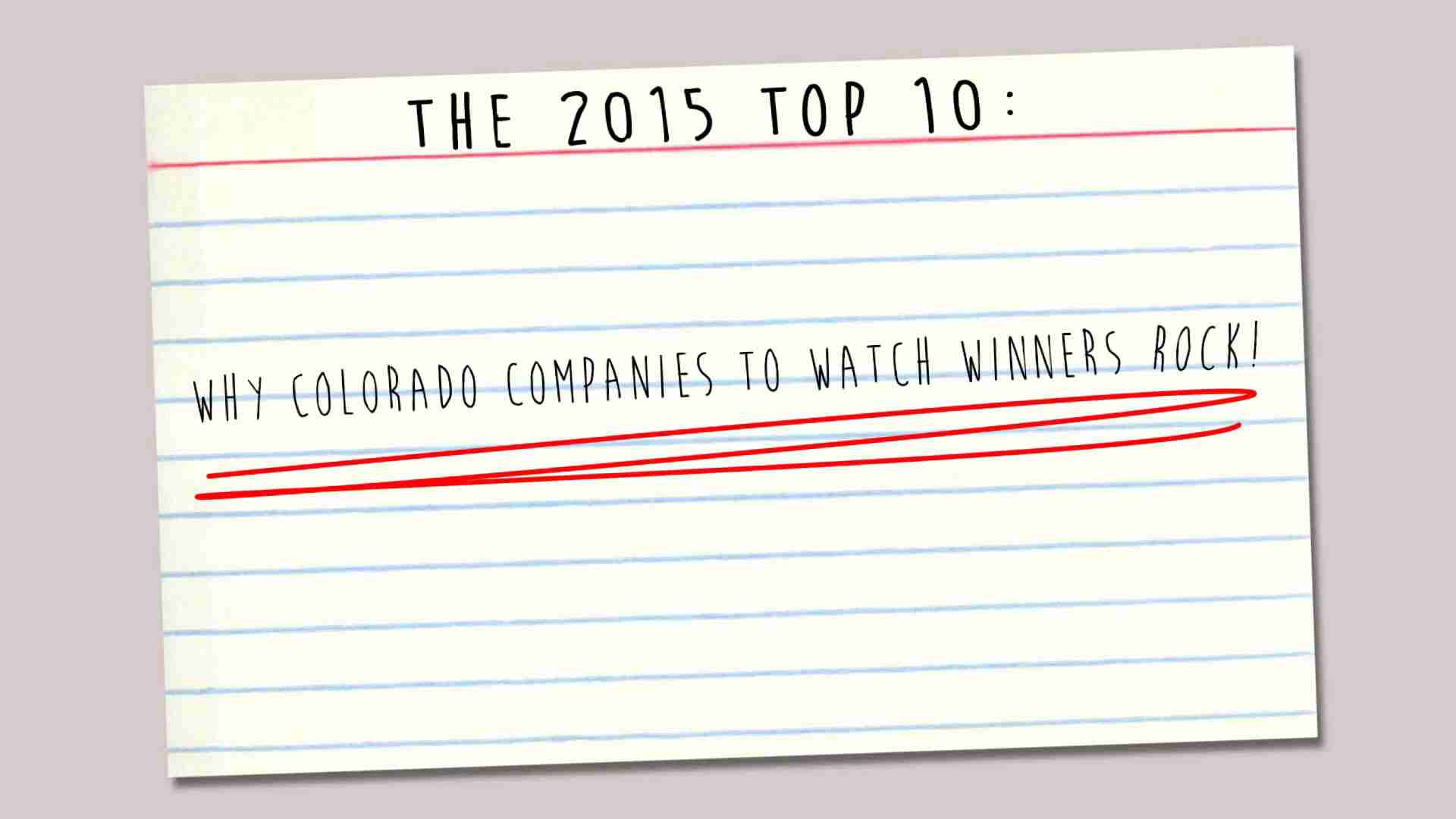 Colorado Companies to Watch 2015 Winners video